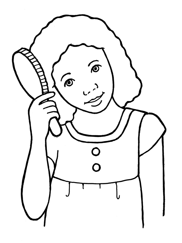 Combing Hair Clipart Black And White.