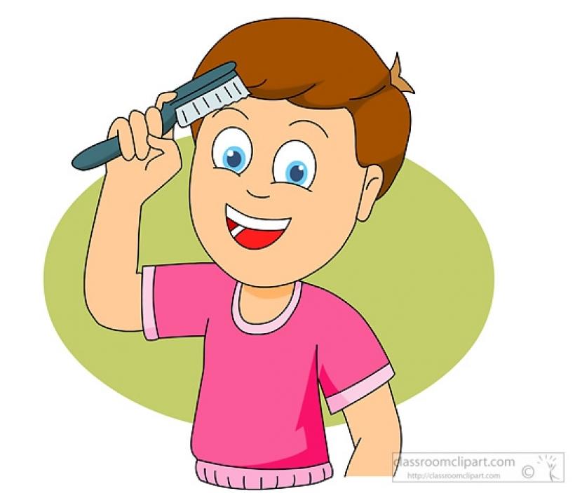Kids Combing Hair Clipart.