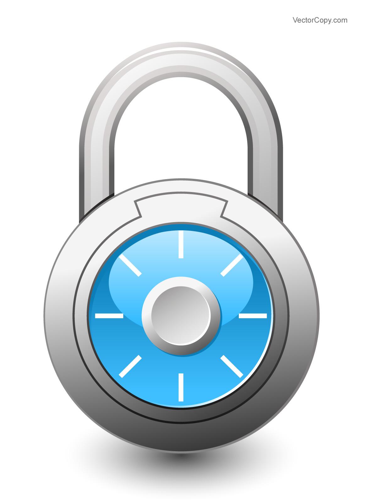 Combination lock clipart.