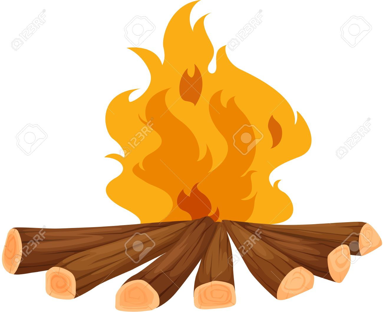 Illustration Of A Campfire On White Royalty Free Cliparts, Vectors.