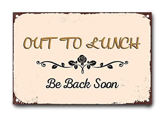Amazon.com: wendana Out to Lunch Be Back Soon Metal Signs.