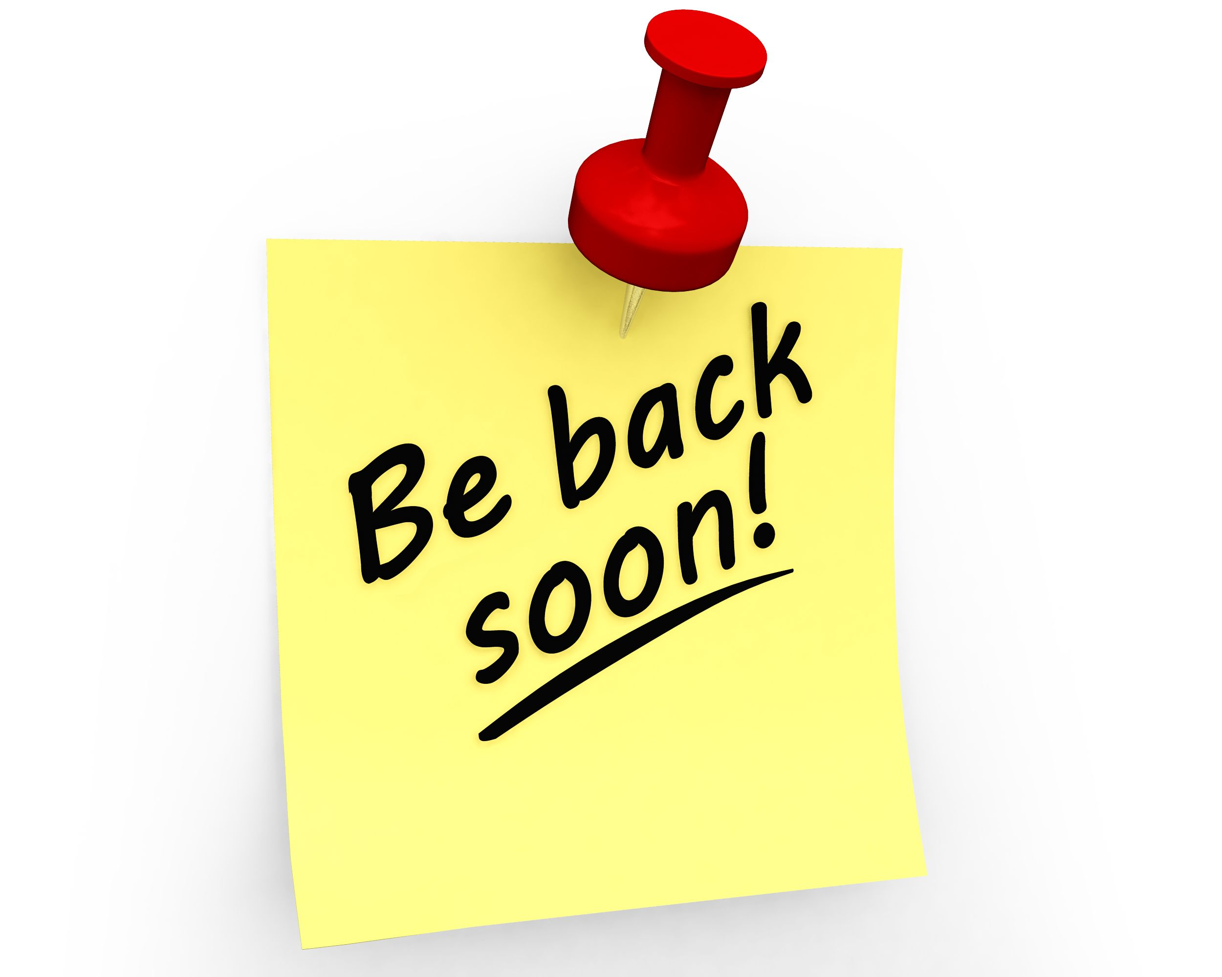 Be Back Soon Text On Sticky Note Stock Photo.