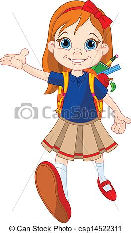 Vector Clip Art of Girl go to school.