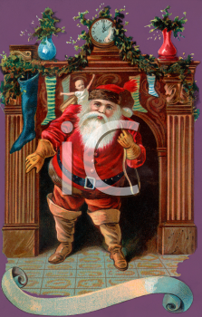 Old Fashioned Santa Coming Down the Chimney Clip Art.