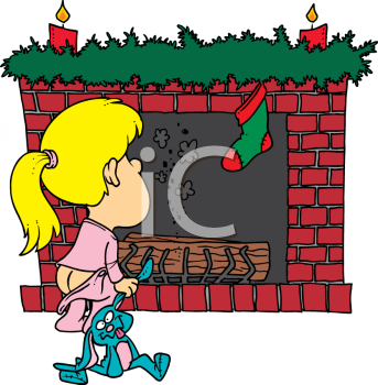 Child Waiting for Santa To Come Down the Chimney On Christmas.