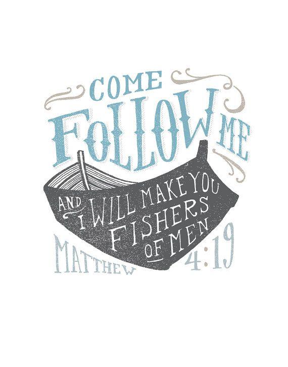 Fishers of Men, Come Follow Me, Boat Print, Scripture Art, Matthew 4.