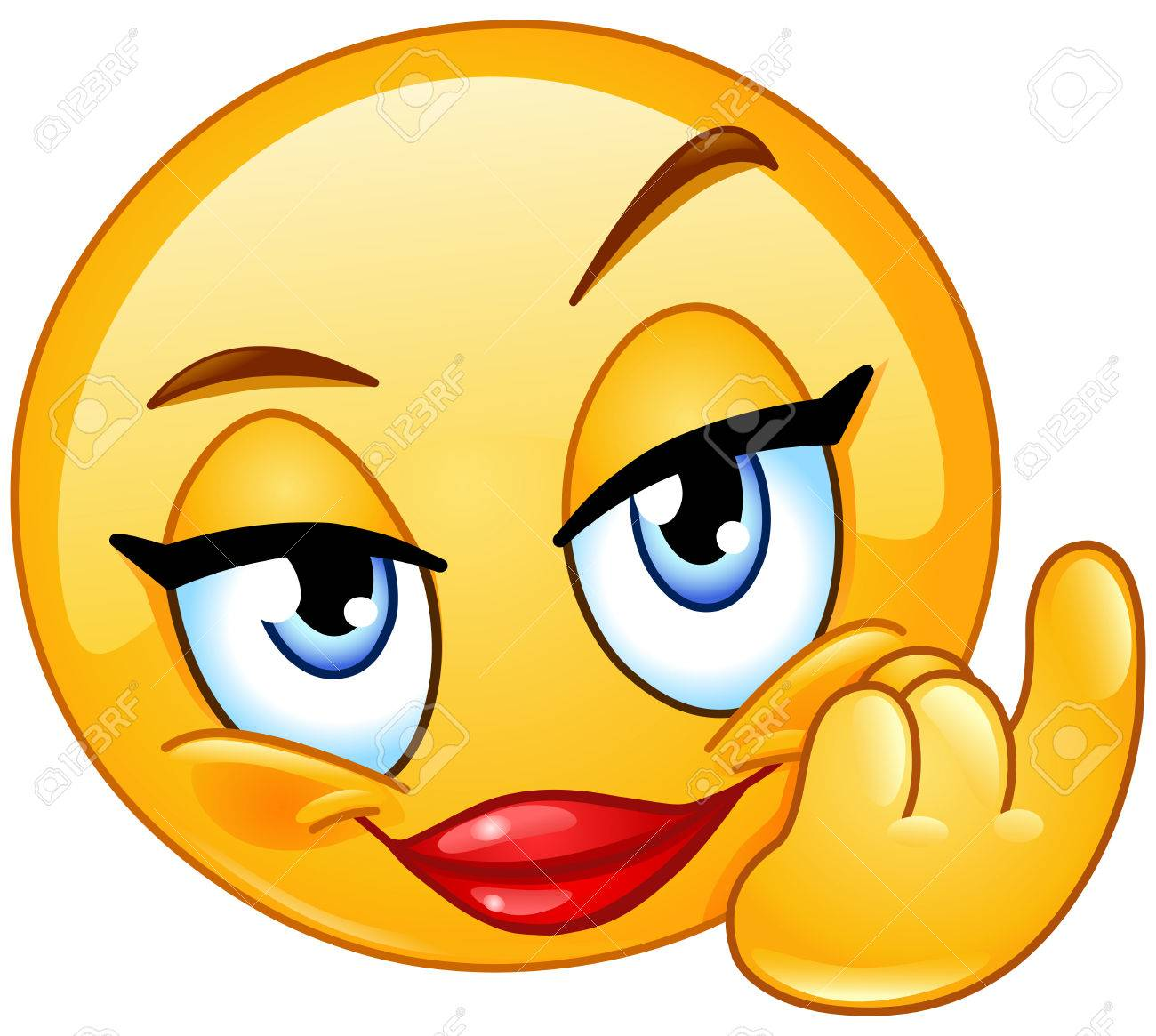 Female emoticon showing beckoning or come here hand gesture.