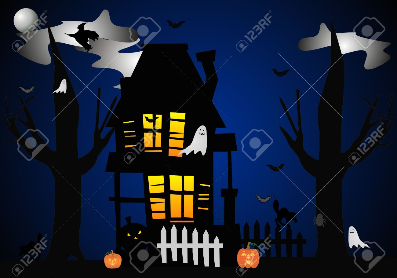A Clip Art Illustration Of Halloween Night, When THEY All Come.