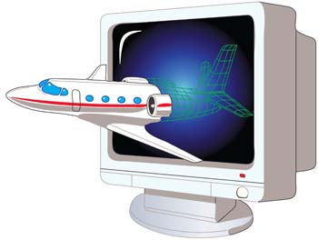 A flight come out from monitor, Clip Art.