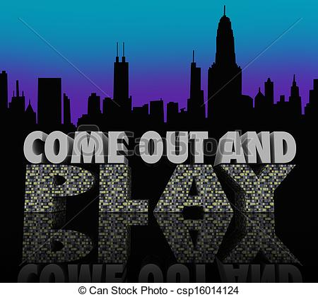 Clip Art of Come Out and Play Nightlife City Skyline Night Life.
