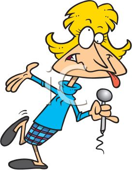 Royalty Free Clipart Image: Cartoon of a Female Stand Up Comedian.