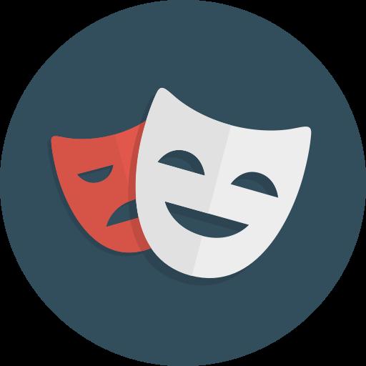 Comedy, drama, happy, masks, sad, theatre icon.