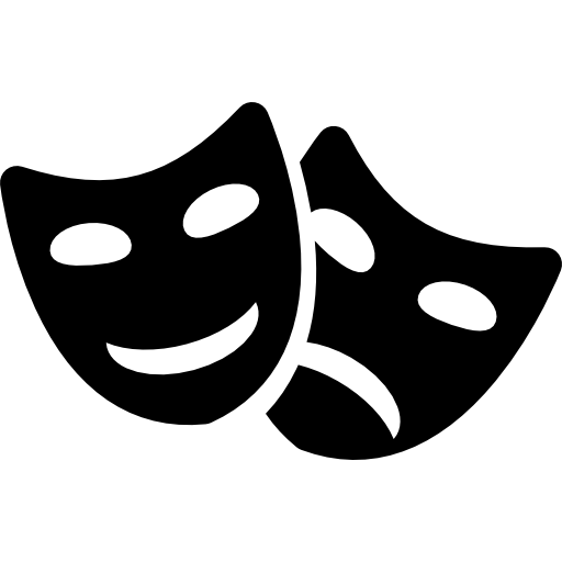 Comedy and tragedy masks couple.