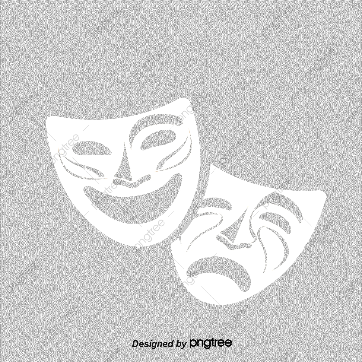 Vector Illustration Comedy And Tragedy Theater Masks, Theatre Mask.