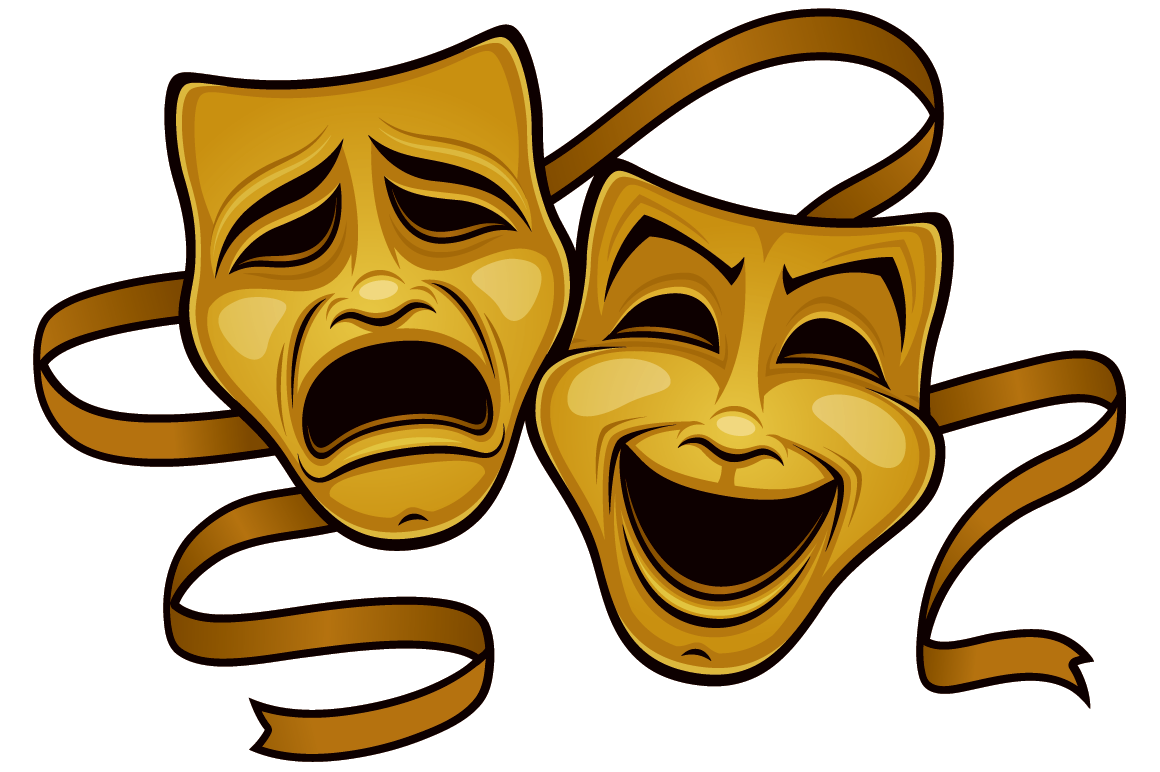 Gold Comedy And Tragedy Theater Masks.