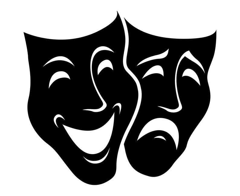 Theater masks, Comedy, Tragedy, Mask,  SVG,Graphics,Illustration,Vector,Logo,Digital,Clipart.