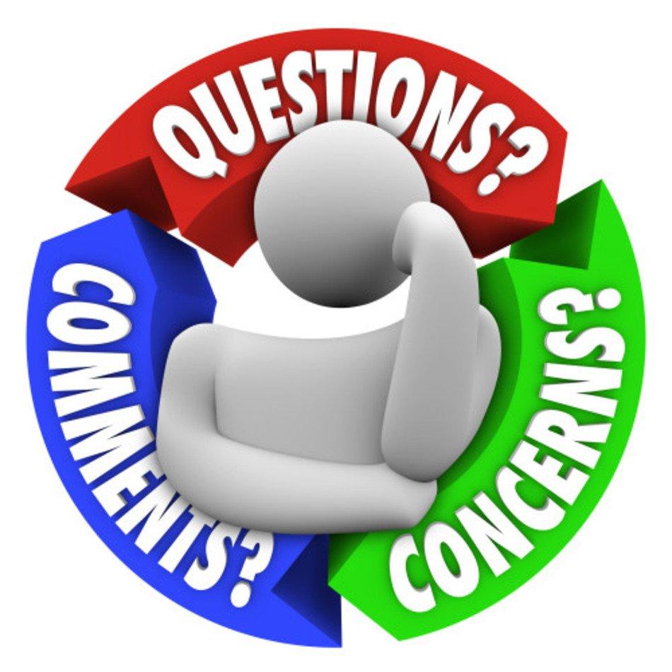 Questions Comments Concerns Clip Art free image.