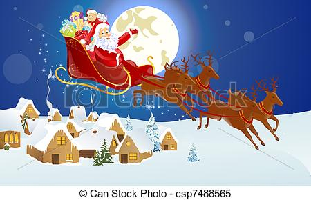 Clip Art Santa Claus Comes to Town.