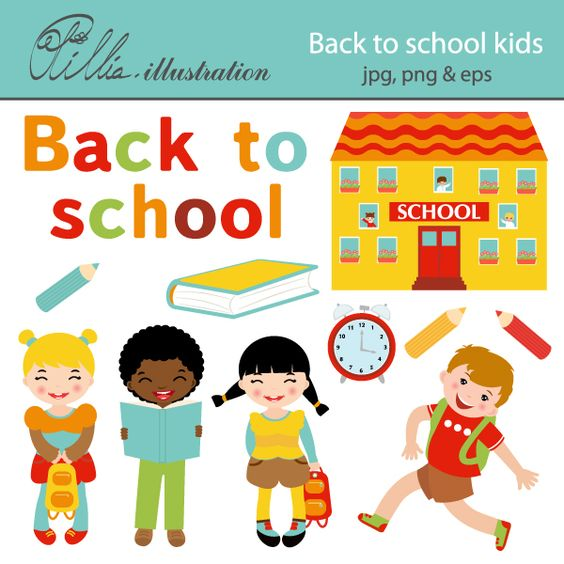 This adorable Back to school kids set comes with 11 clipart.
