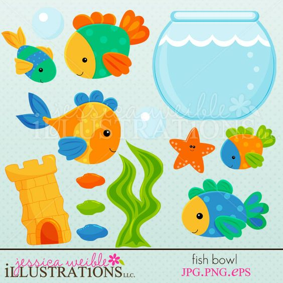 Fish Bowl clipart set comes with 13 cute graphics including: 5.