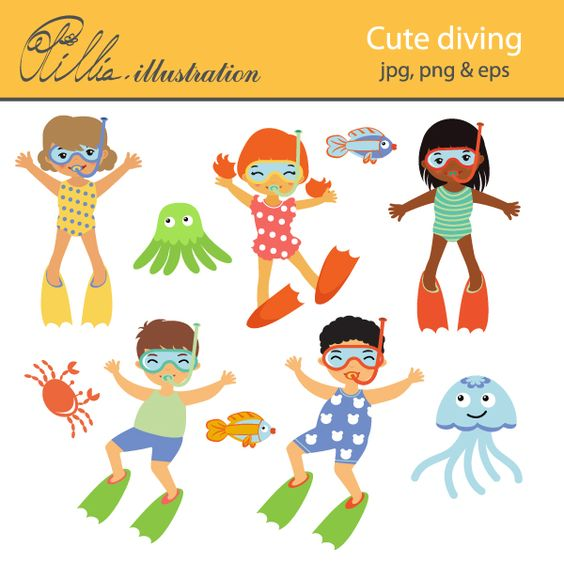 This Cute diving clipart set comes with 10 cliparts featuring kids.