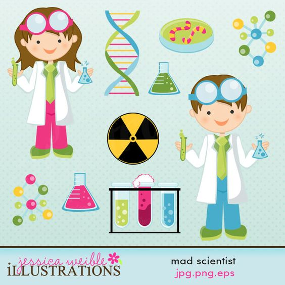Mad Scientist clipart set comes with 10 graphics including: a Girl.