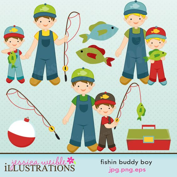 Fishin Buddy Boy Version clipart set comes with 8 graphics.