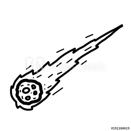 comet / cartoon vector and illustration, black and white, hand drawn.