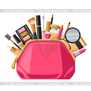 Cosmetics for skincare and makeup in bag. Backgroun.