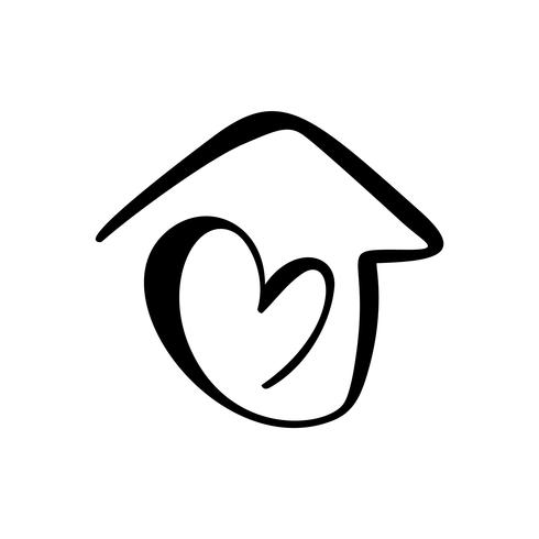 Simple Calligraphy House with heart. Real Vector Icon.