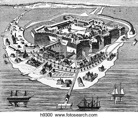 Stock Photography of 1800S 1860S Drawing Layout Fort Monroe At Old.
