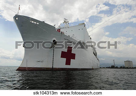 Stock Photo of Military Sealift Command hospital ship USNS Comfort.