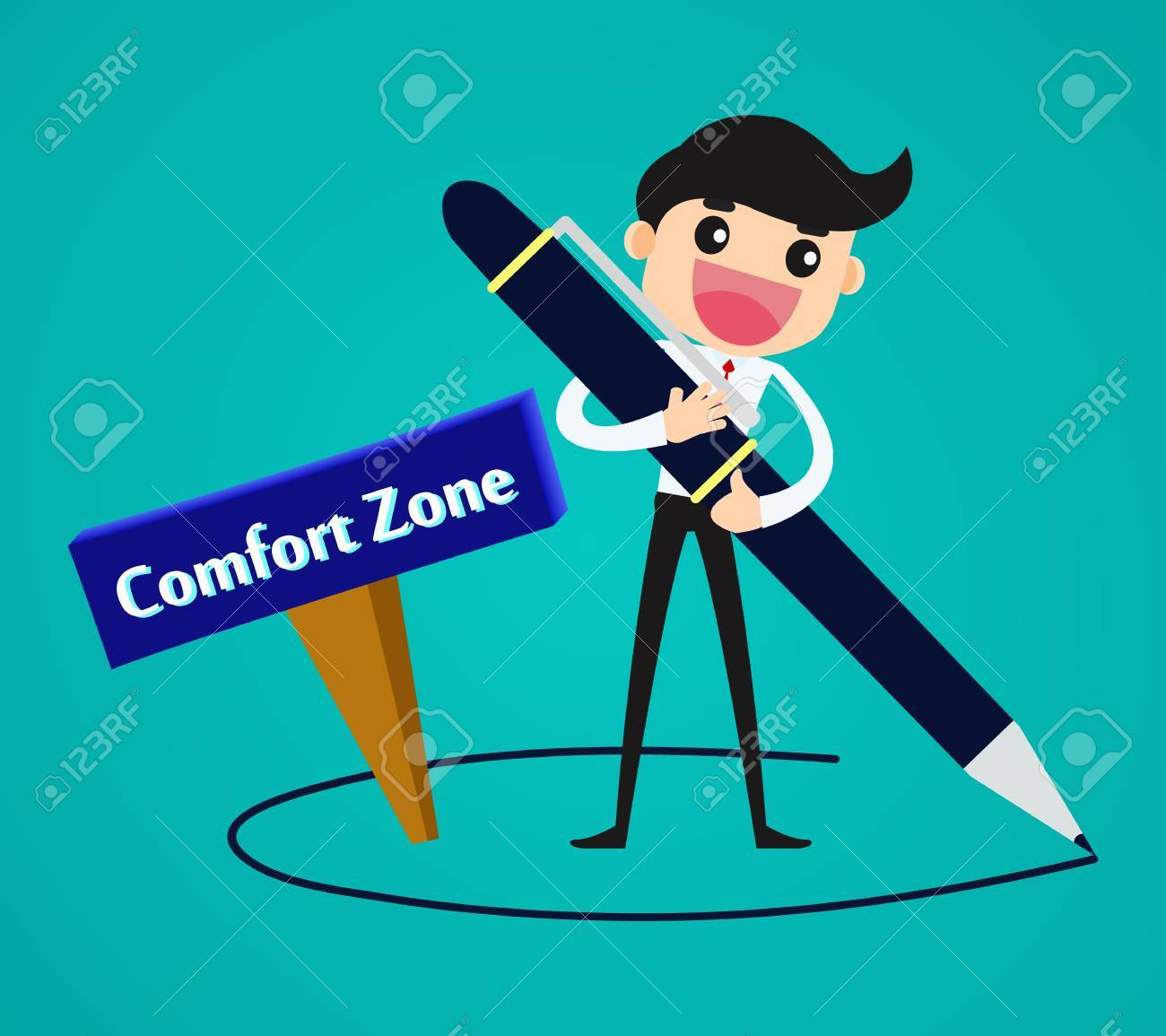 Businessman drawing his comfort zone/ business concept vector...