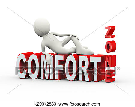 3d man lying on comfort zone text Clipart.