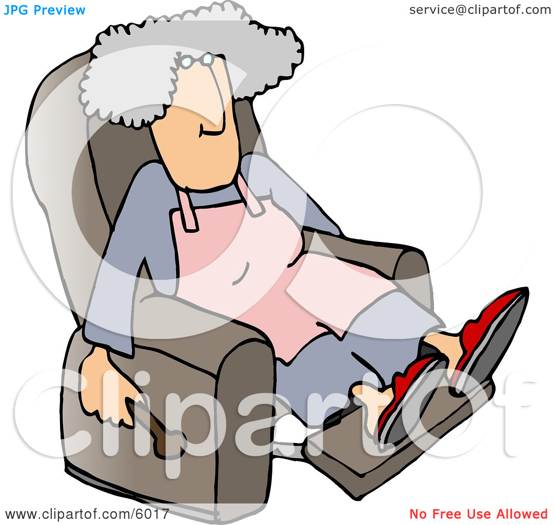 Housewife Relaxing On a Comfortable Recliner Chair Clipart Picture.