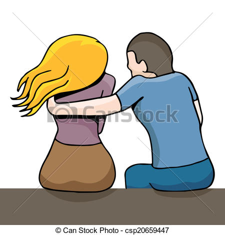 Clipart Vector of Woman Comforting Depressed Woman.