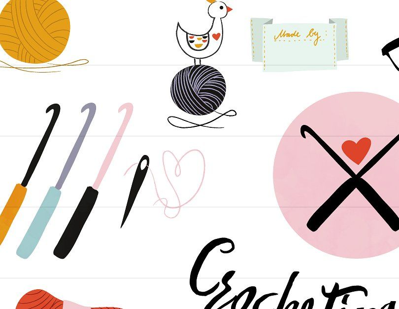 Crochet Clipart Commercial Handmade #drawings#crafty#projects#lovely.