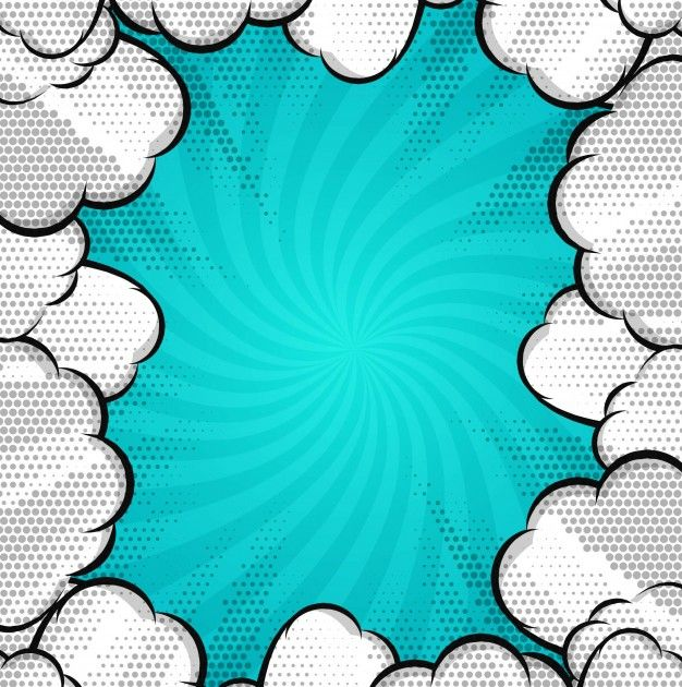 Modern comic background with clouds Free Vector in 2019.