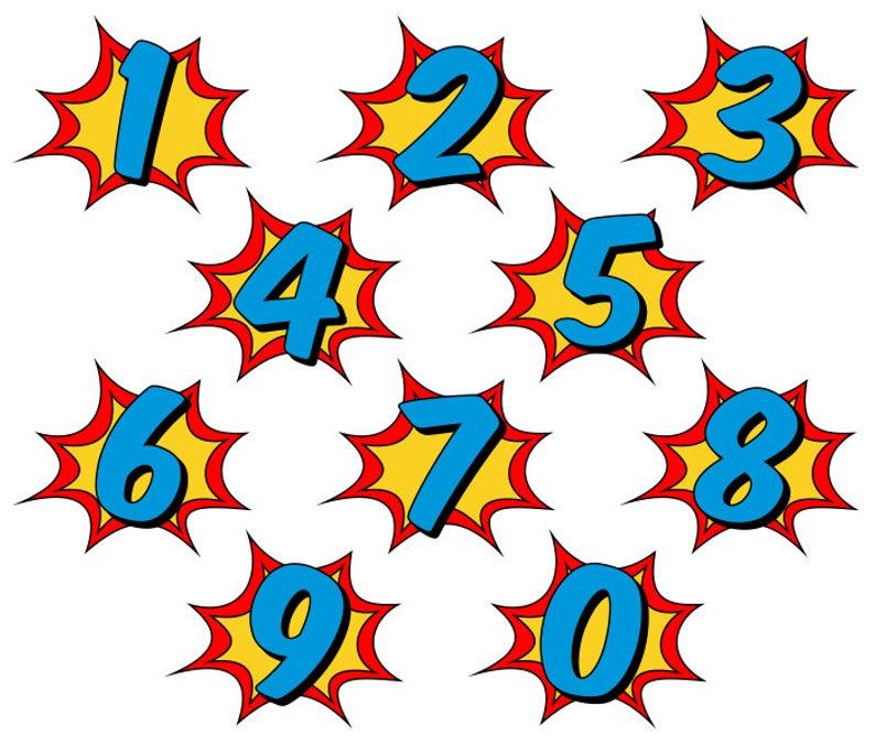 Superhero Clipart, Comic Book Clip Art, Comic Book Numbers.