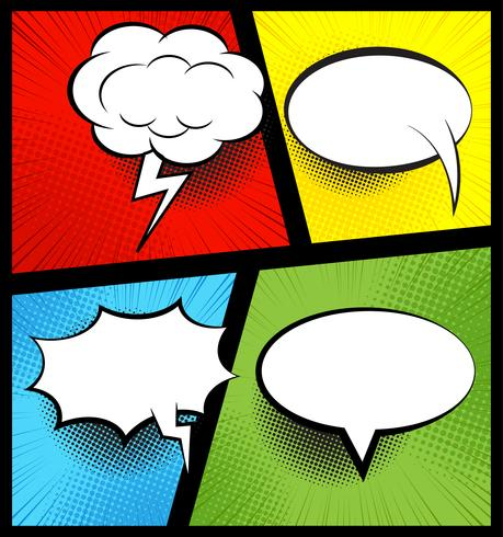 Colorful comic book background with blank white speech.