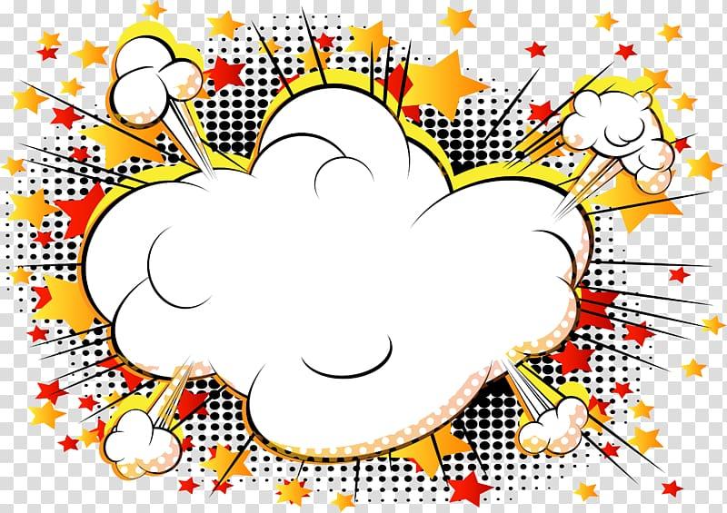 Comics Cartoon Explosion Comic book, cloud comics explosion, white.
