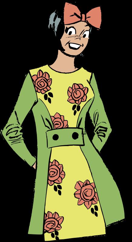 Free Retro Woman in Flower Dress Clip Art.