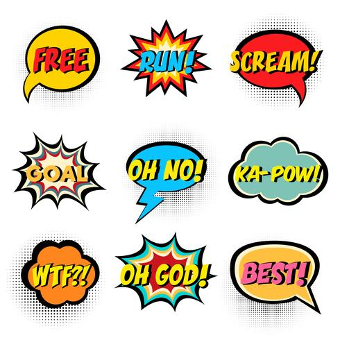 Comic book words. Comic speech bubble set.