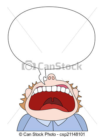Vector Clipart of Shout Of Rage Comic Figure.