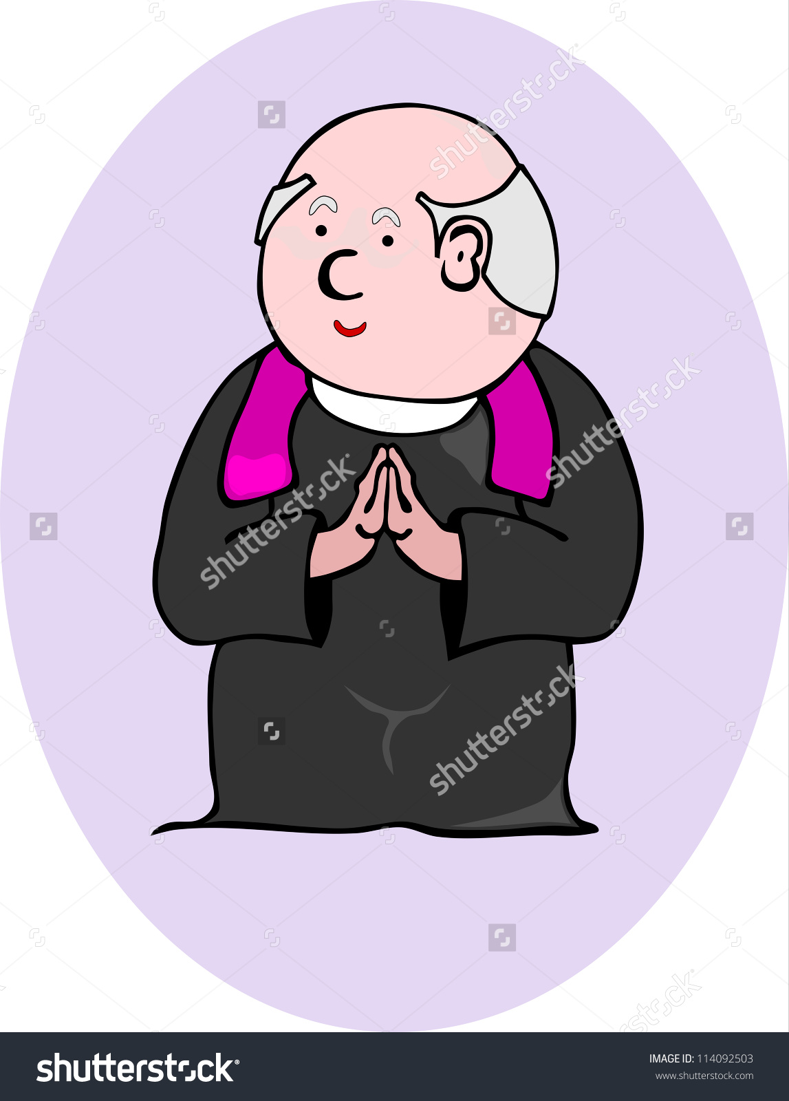 Comic Figure Priest Without Gradients Suitable Stock Vector.