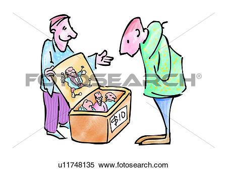 Stock Illustration of figure, cartoon, sell, character, comic.