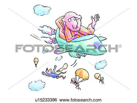 Stock Illustration of comic, senior citizen, throw away, cartoon.