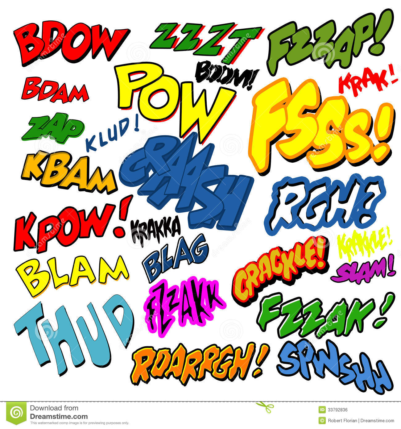 Comic Book Words Clipart.