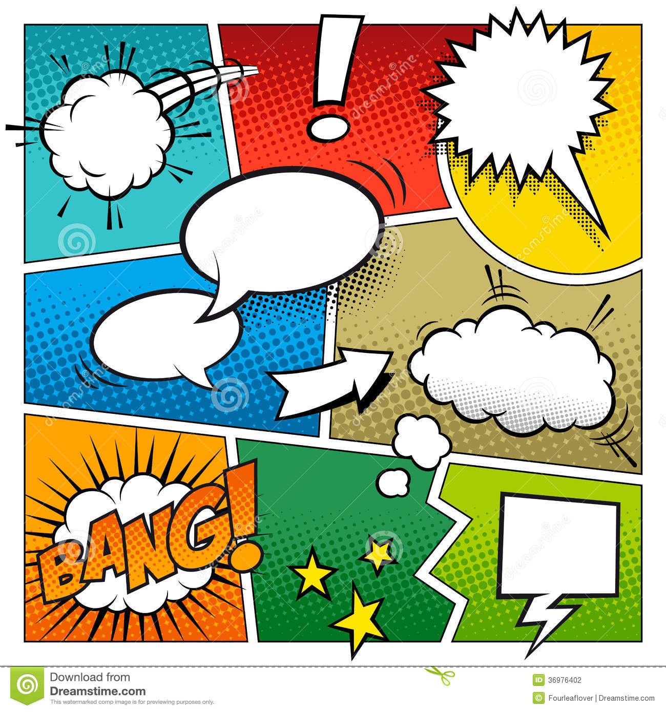 Color Vector Comic Book Page Stock Photography.