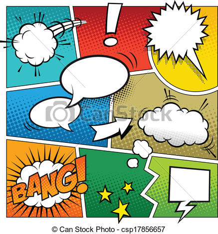 Clipart Vector of Color Comic Book Page Template.